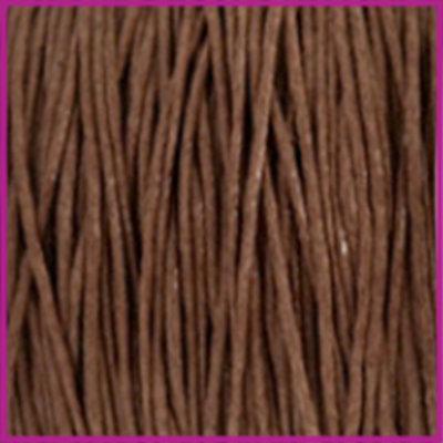 Waxkoord (katoen) Ø1mm chocolate brown per meter