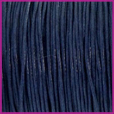 Waxkoord (katoen) Ø1mm dark blue per meter