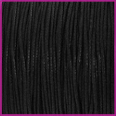 Waxkoord (katoen) Ø1mm zwart per meter