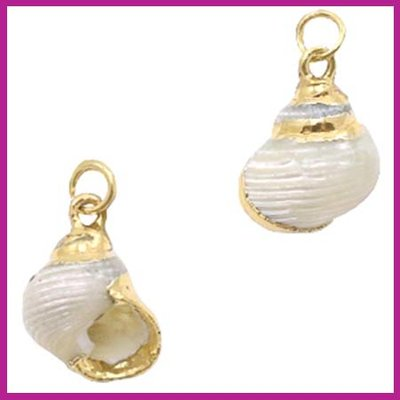 Schelp hanger Wulk pearl cream white - goud