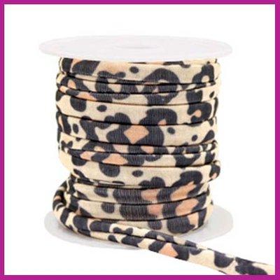 Stitched elastisch sierlint per 25cm leopard Beige-brown