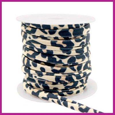 Stitched elastisch sierlint per 25cm leopard Beige-black
