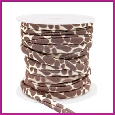 Stitched elastisch sierlint per 25cm giraffe Beige-beige