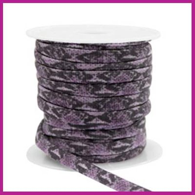 Stitched elastisch sierlint per 25cm snake dark purple