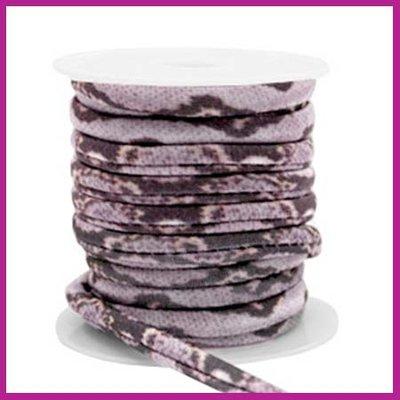 Stitched elastisch sierlint per 25cm snake lila grey