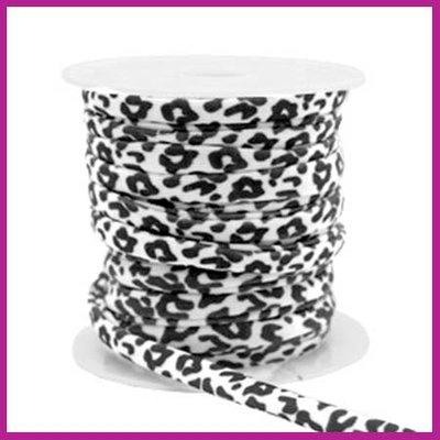 Stitched elastisch sierlint per 25cm leopard white black
