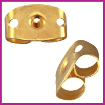 Metalen DQ oorbel stoppers per stuk Goud