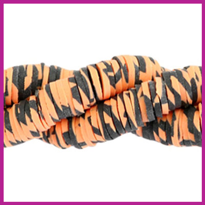 Katsuki kralen disc animal print rond 4mm orange - black