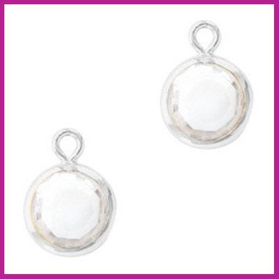 DQ Hangers van crystal glas rond 6mm Silver-Crystal