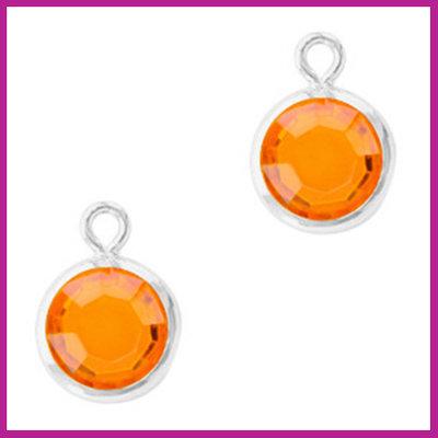 DQ Hangers van crystal glas rond 6mm Silver-Sun orange