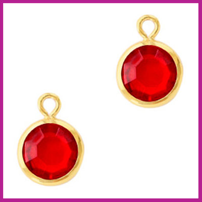 DQ Hangers van crystal glas rond 6mm Gold-Light siam red
