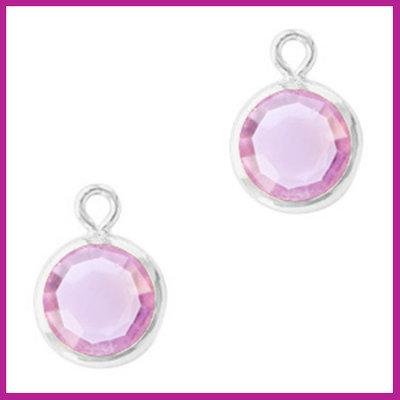 DQ Hangers van crystal glas rond 6mm Silver-Violet purple