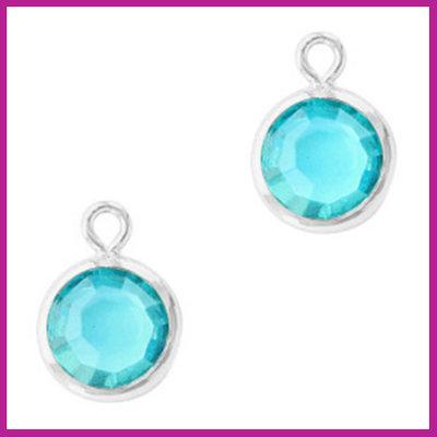 DQ Hangers van crystal glas rond 6mm Silver-Aquamarine blue