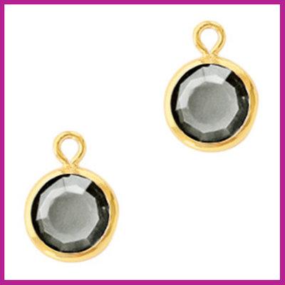 DQ Hangers van crystal glas rond 6mm Gold-Black diamond