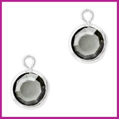 DQ Hangers van crystal glas rond 6mm Silver-Black diamond