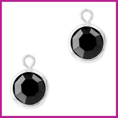 DQ Hangers van crystal glas rond 6mm Silver-Jet black