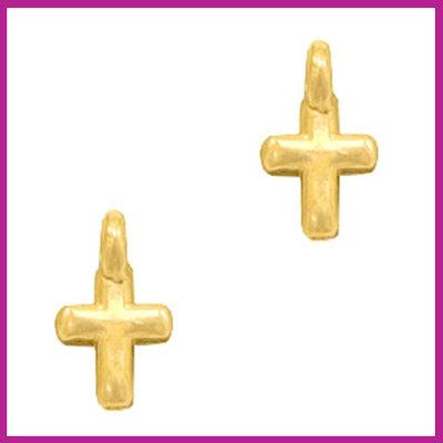 DQ metaal bedel kruisje Goud