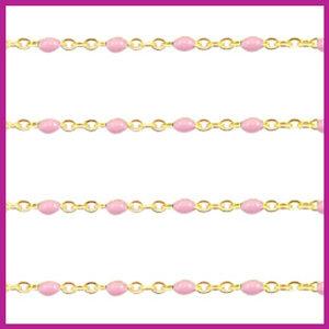 (RVS) Stainless steel jasseron ca. 24cm x 1mm Light pink-goud