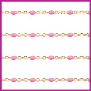 (RVS) Stainless steel jasseron ca. 24cm x 1mm Pink-goud