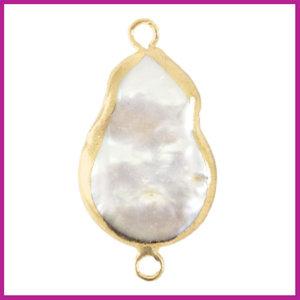 Zoetwaterparel tussenstuk asymmetric drop Gold-Natural white