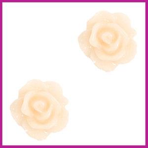 Roosje kraal 10mm papyrus white