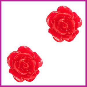 Roosje kraal 10mm lollipop red
