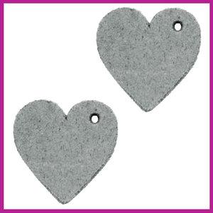 DQ leer hanger hartje grey