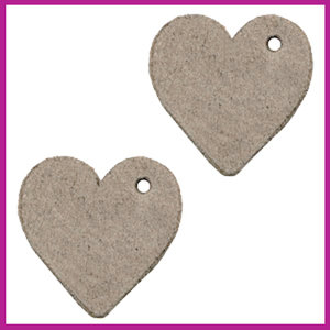 DQ leer hanger hartje vintage brown