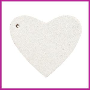 DQ leer hanger hart off white
