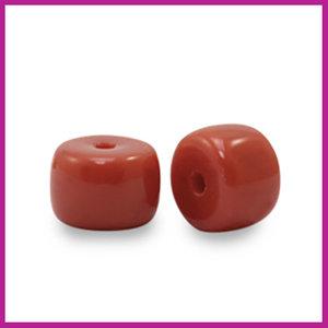 Glaskraal rondel 6mm maroon red