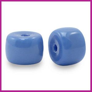 Glaskraal rondel 8mm princess blue