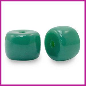 Glaskraal rondel 8mm ultramarine green