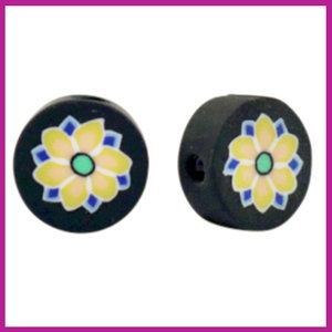 Polymeer kraal bloem zwart geel