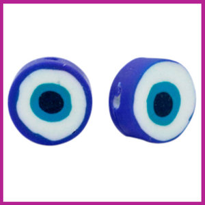 Polymeer kraal boze oog donker blauw