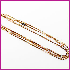 Ballchain halsketting RVS met sluiting Ø2,5mm Antiek goud