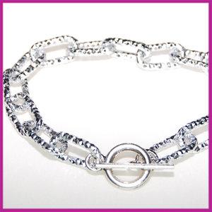 Aluminium armband bewerkt Zilver