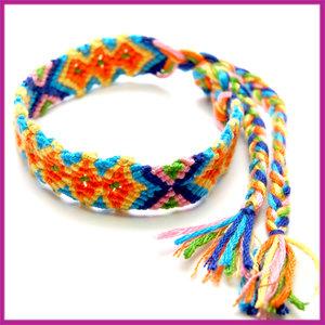 Ibiza stoffen gevlochten armband 14mm Oranje-blauw