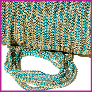 Fashion wire plat 5mm turquoise groen - goud