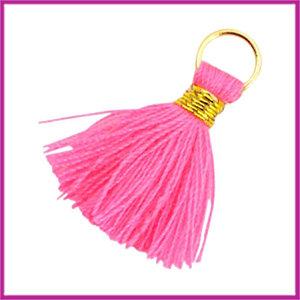 Kwastje Ibiza style 2cm met ring goud neon pink