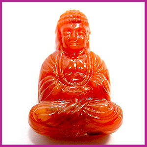 DQ acryl kunststof kraal boeddha oranje amber