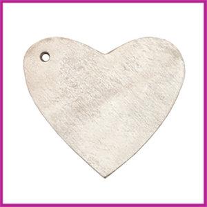 DQ leer hanger hart ca. 4x4,5cm country grey