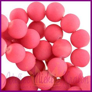 Glaskraal rond ø6mm mat Roze rood