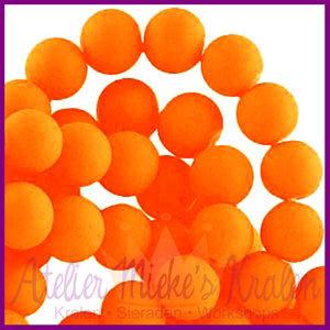 Glaskraal rond ø6mm mat Neon oranje