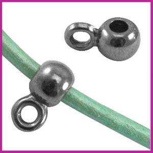 DQ metaal kraal met oog voor draad tot 2mm Zilver Antraciet