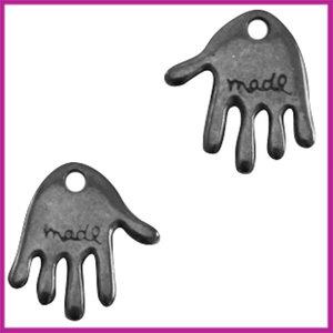"""DQ metaal bedel """"Hand made"""" 12x10mm Zilver Antraciet"""