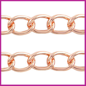 Basic quality metalen schakelketting 21x16mm Rosegold ca. 5cm