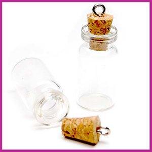 Wensflesje hanger transparant glas met kurk
