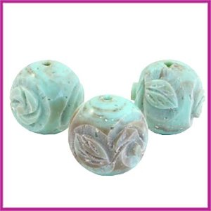 DQ acryl carved Polaris kraal rond 14mm turquoise