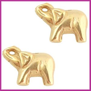 DQ acryl kraal olifantje metaallook goud