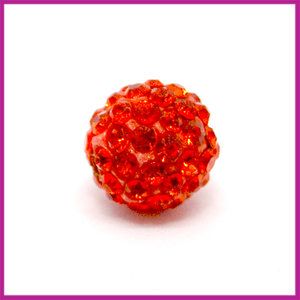 Strass kraal polymeerklei rond 10mm Donker oranje